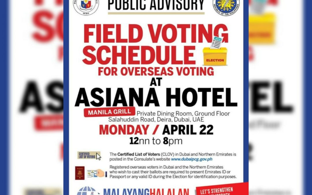 Philippine Consulate to hold one-day field voting in Deira, Dubai