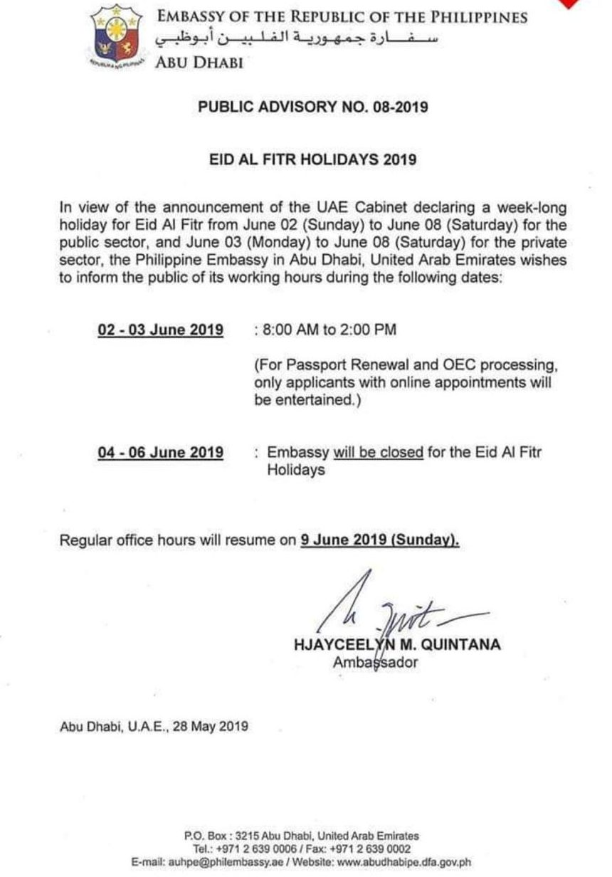 PH Embassy, Consulate announce working hours for Eid al Fitr