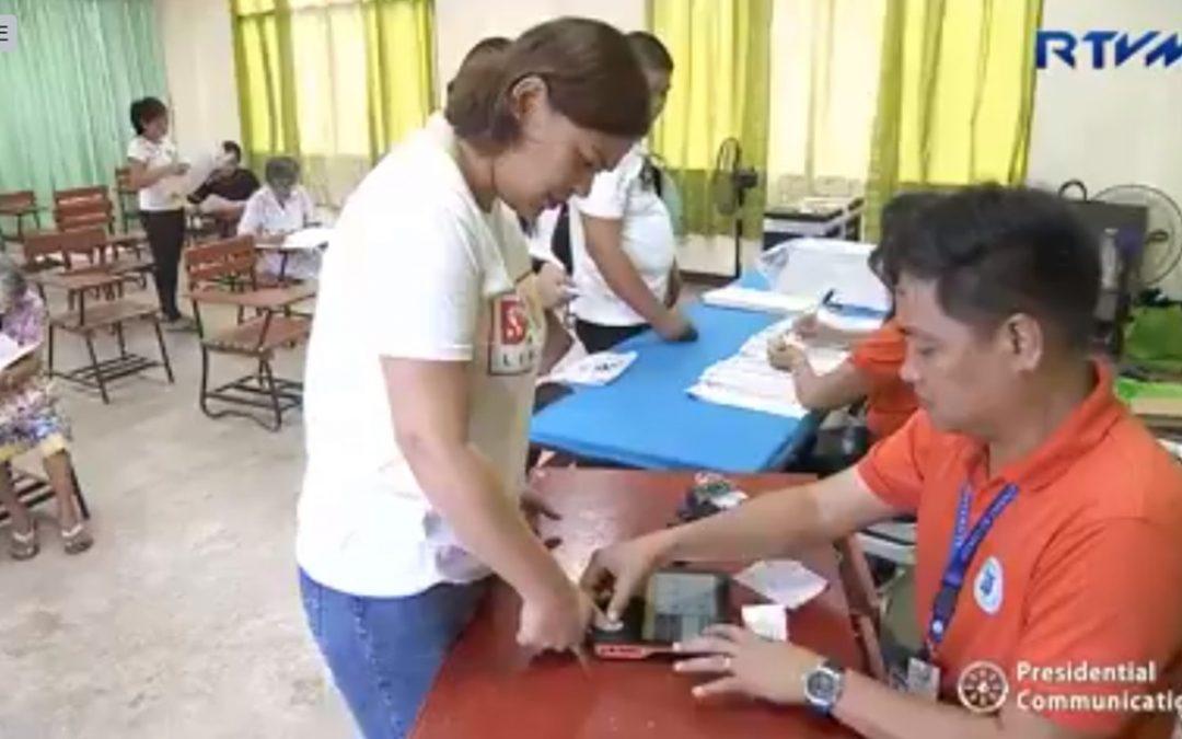 Sara Duterte casts vote in Davao City