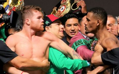 WATCH: Alvarez vs Jacobs weigh in becomes the main event