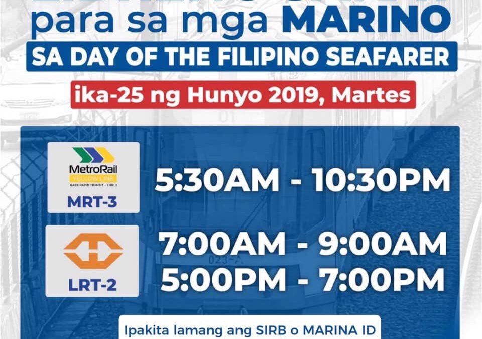 Filipino seafarers offered free train rides