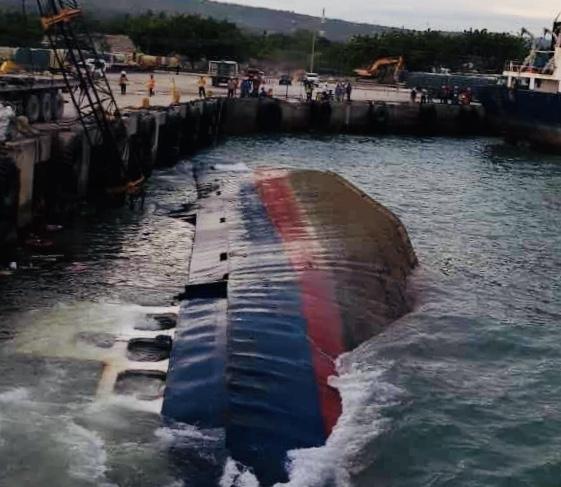 LOOK: Cargo vessel capsizes off San Fernando, Cebu