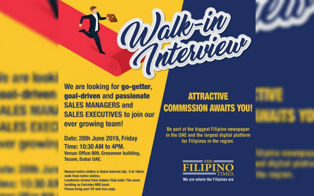 WALK IN OPPORTUNITY: The Filipino Times to hold one-day job interviews tomorrow, June 28