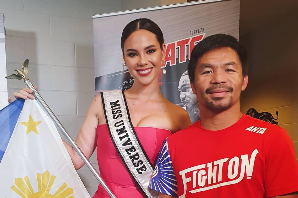 Catriona Gray 'raises PH flag' during Pacquiao, Thurman fight