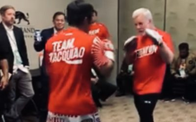 WATCH: Pacman warms up before his fight with Thurman