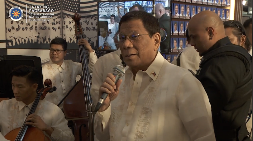 WATCH: Duterte sings 'Ikaw', 'Moon River', invites Philharmonic orchestra in Malacañang