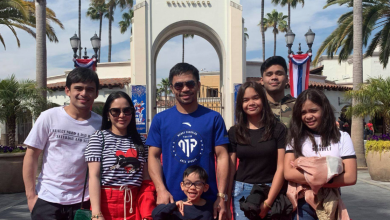 Photo of Pacquiao takes a break in training, explores Universal Studios Hollywood with family