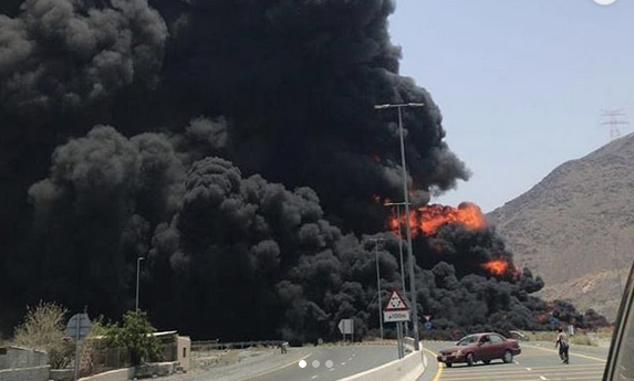 UAE firefighters put out fuel tanker fire