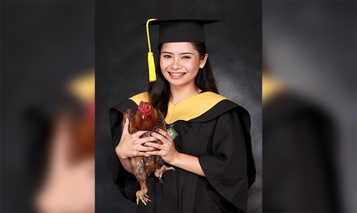 Fresh grad thanks rooster for waking her up every day