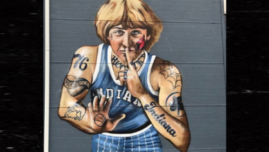 Photo of NBA legend Larry Bird irked over mural showing him heavily tattooed