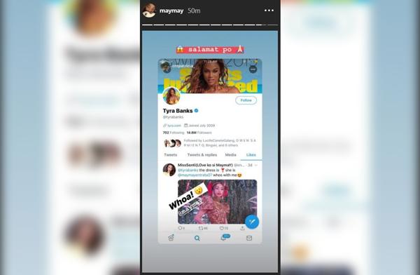 Tyra Banks likes Maymay Entrata's ABS-CBN ball photos