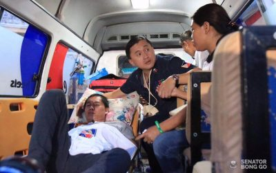 Bong Go meets with OFW he helped to recover from coma
