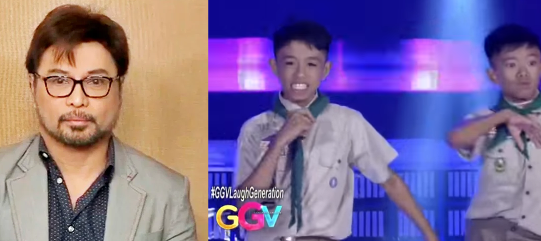 TV Host Arnell Ignacio reacts on Boy scouts dance on GGV