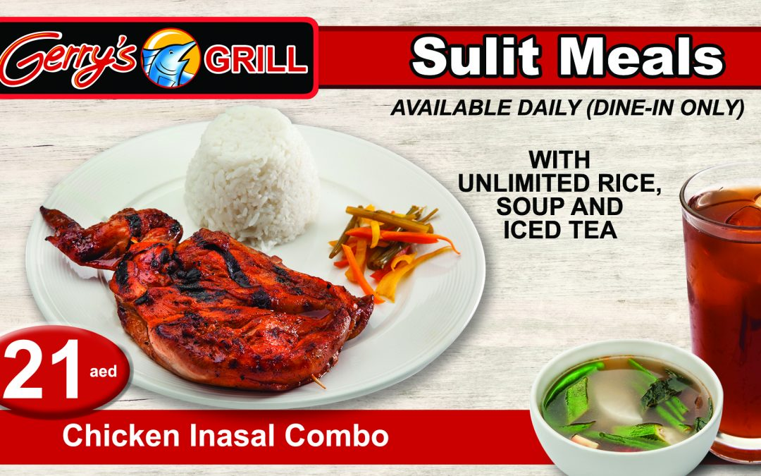 Enjoy three of Gerry's Grill's signature Chicken Inasal combo for the price of two