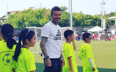 David Beckham holds football clinic for Manila kids