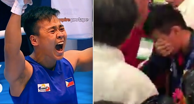 Filipina gold medalist boxer cries tears of joy in PH homecoming