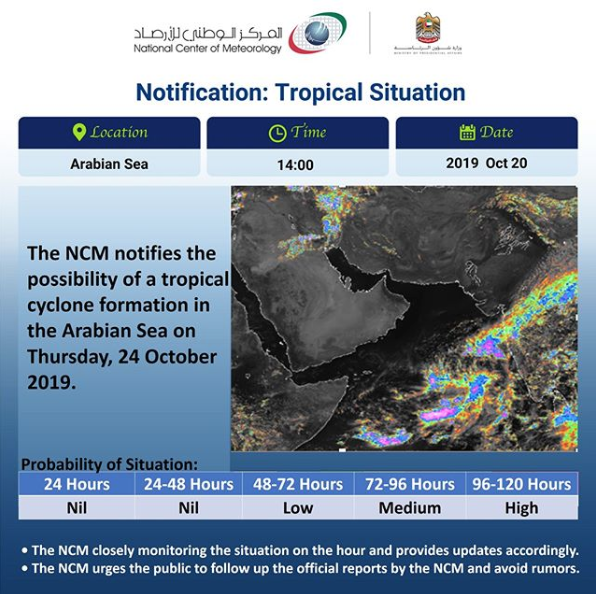 UAE weather agency issues tropical cyclone warning