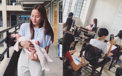 LOOK: Teacher volunteers to take care of her student's baby during quiz
