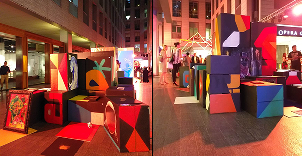 LOOK: Dubai-based Filipino artists create art installation out of balikbayan boxes