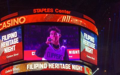 Iñigo Pascual performs at NBA game halftime show