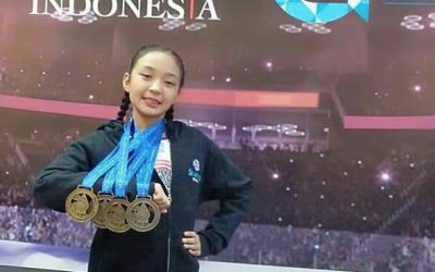 Pinay teen wins 4 gold medals in ice skating event in Indonesia