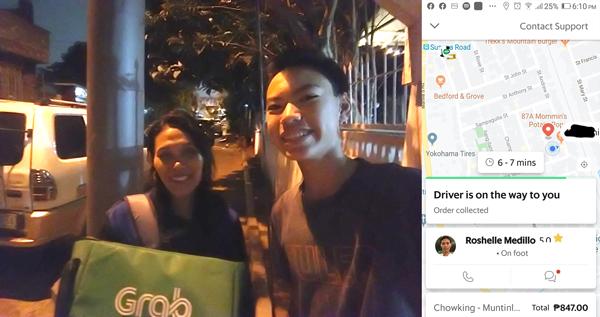 Grab Food rider delivers food 'on foot'