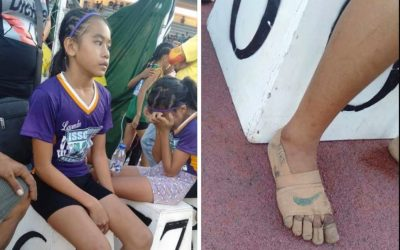 Girl athlete who wore makeshift 'Nikes' grabs businessman's attention