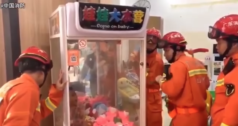 WATCH: Firefighters rescue child from claw machine