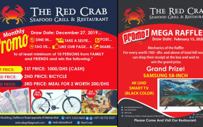Win Samsung 58 inch 4k UHD TV, cash prizes and more at The Red Crab Seafood Grill & Restaurant