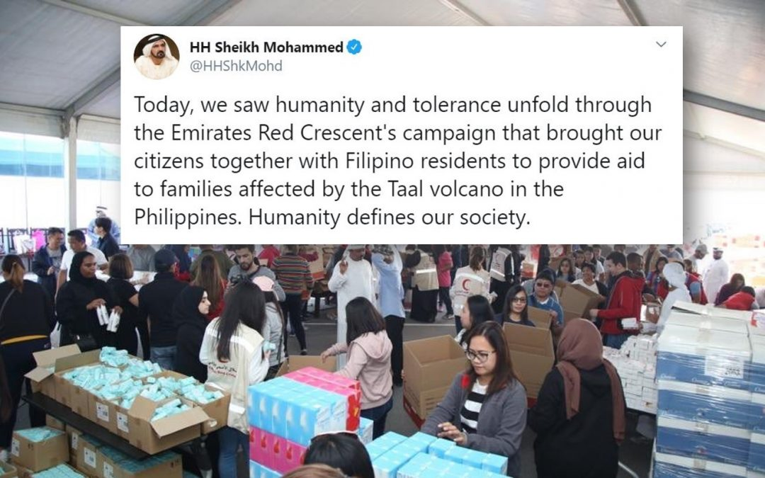 Sheikh Mohammed bin Rashid praises unity among Emirati, Filipino in relief efforts for Taal victims