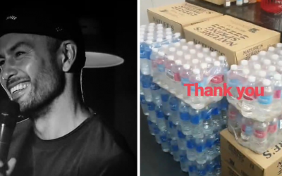 Actor Derek Ramsay gives donations for Taal victims