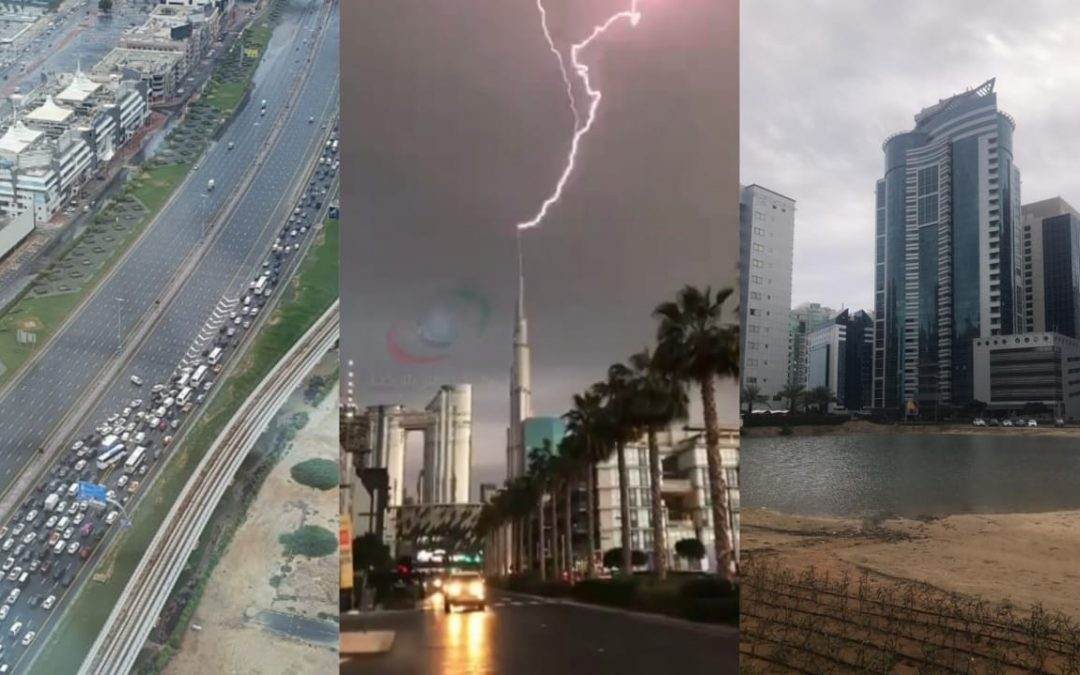 LOOK: Lightning touches tip of Burj Khalifa as rains lead to traffic gridlock, flooded areas in UAE