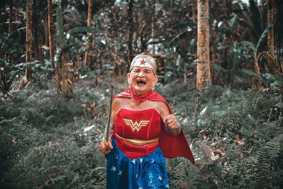 Lolang magsasaka honored on 80th birthday with a 'Wonder Woman' photoshoot