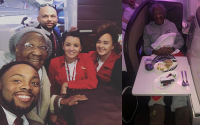 Man gives up first class seat to fulfill elderly woman's dream
