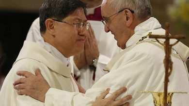 Photo of Pope Francis being closely monitored for COVID-19 symptoms following Cardinal Tagle's visit