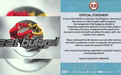 'Eat Bulaga' temporarily suspends admission of live studio audience guests amid COVID-19 threats