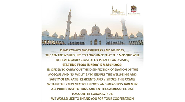 Abu Dhabi's Sheikh Zayed Grand Mosque temporarily closes as preventive measure against COVID-19 spread