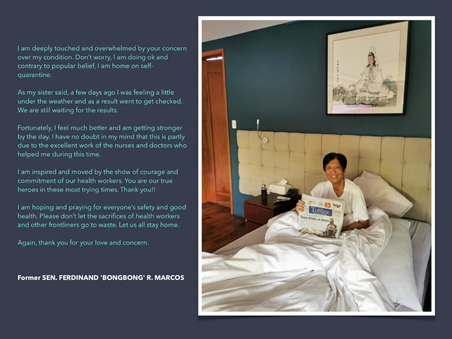 Bongbong Marcos shows 'proof of life' photo inside room