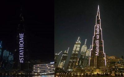 Burj Khalifa lights up: 'Manatili sa Bahay' as part of UAE's 'Stay Home' campaign