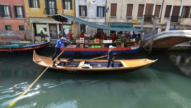 Photo of IN PHOTOS: NGO delivers food for Venice's elderly, people vulnerable to COVID-19 via gondolas