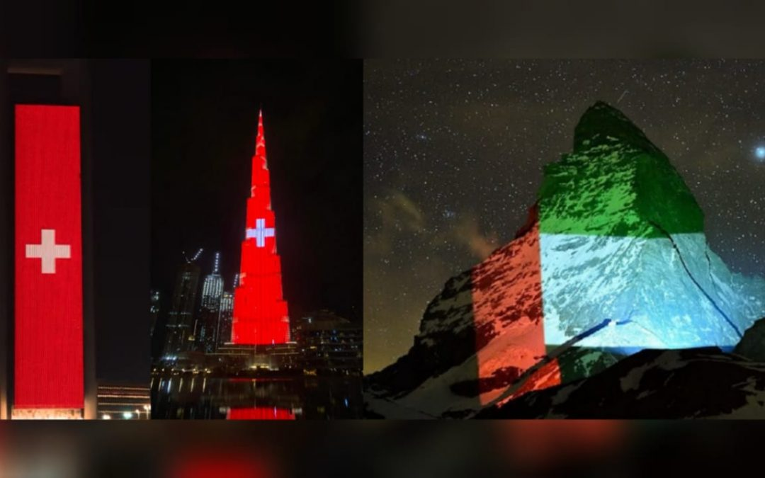 WATCH: UAE's iconic landmarks lights up with Switzerland flag as sign of gratitude between two countries