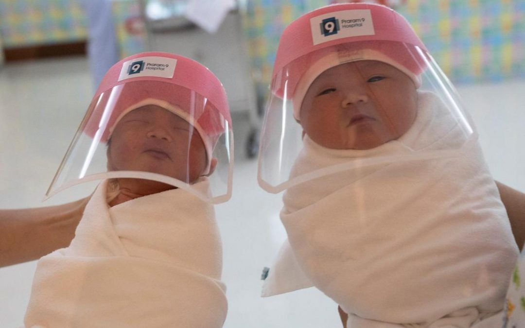 Newborn babies in Thailand go viral with their tiny COVID-19 face shields