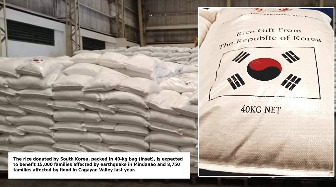 PH Agriculture department receives of 950 metric tons of rice donations from South Korea