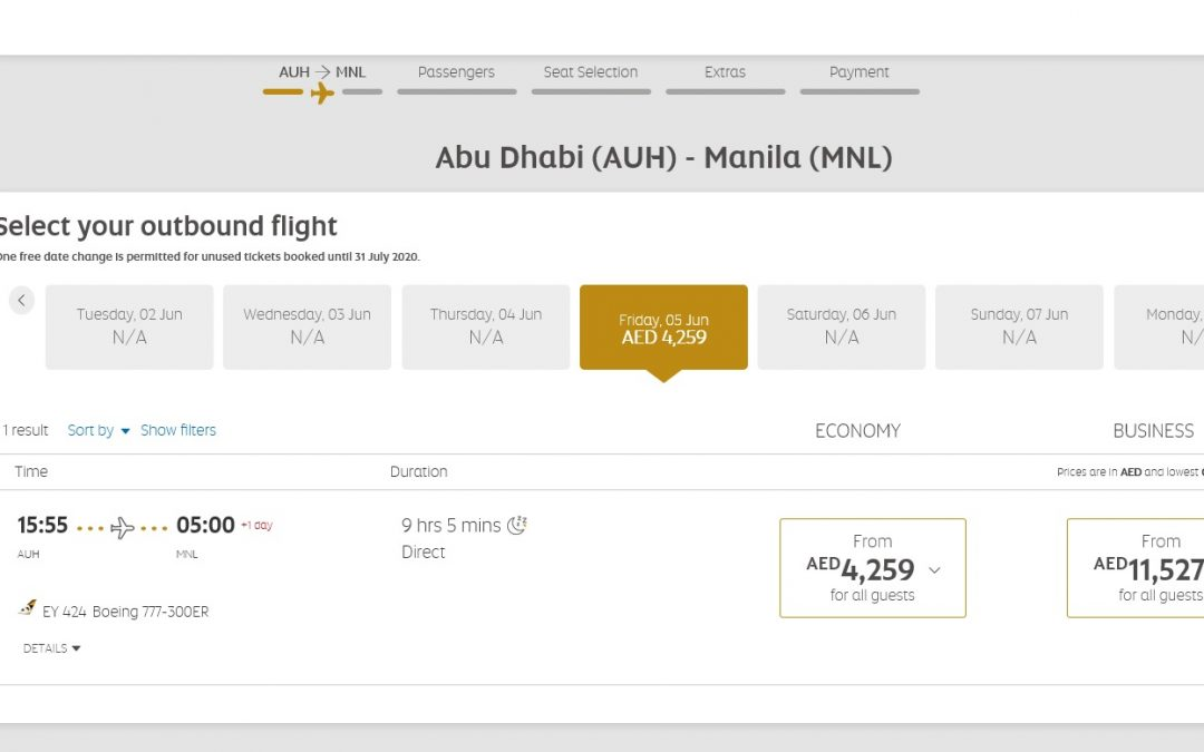 Etihad flights from Abu Dhabi to Manila costs Dh 4,259