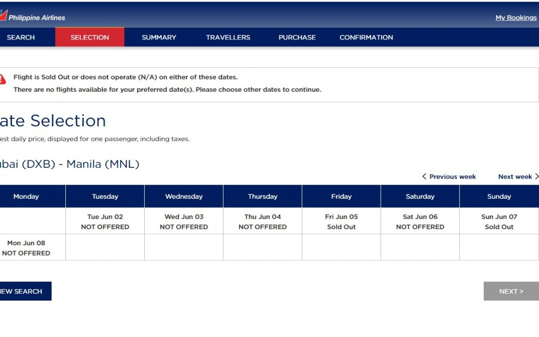 Dubai-Manila PAL flights currently sold out