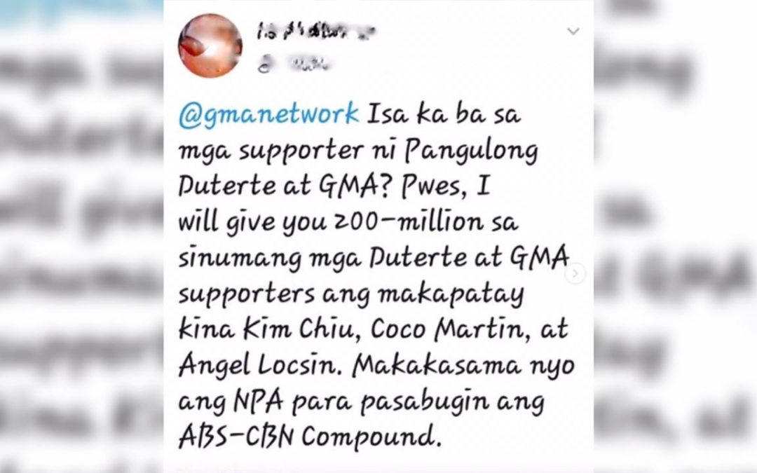 Man who allegedly posted death threats against Kapamilya stars surrenders; denies Twitter account