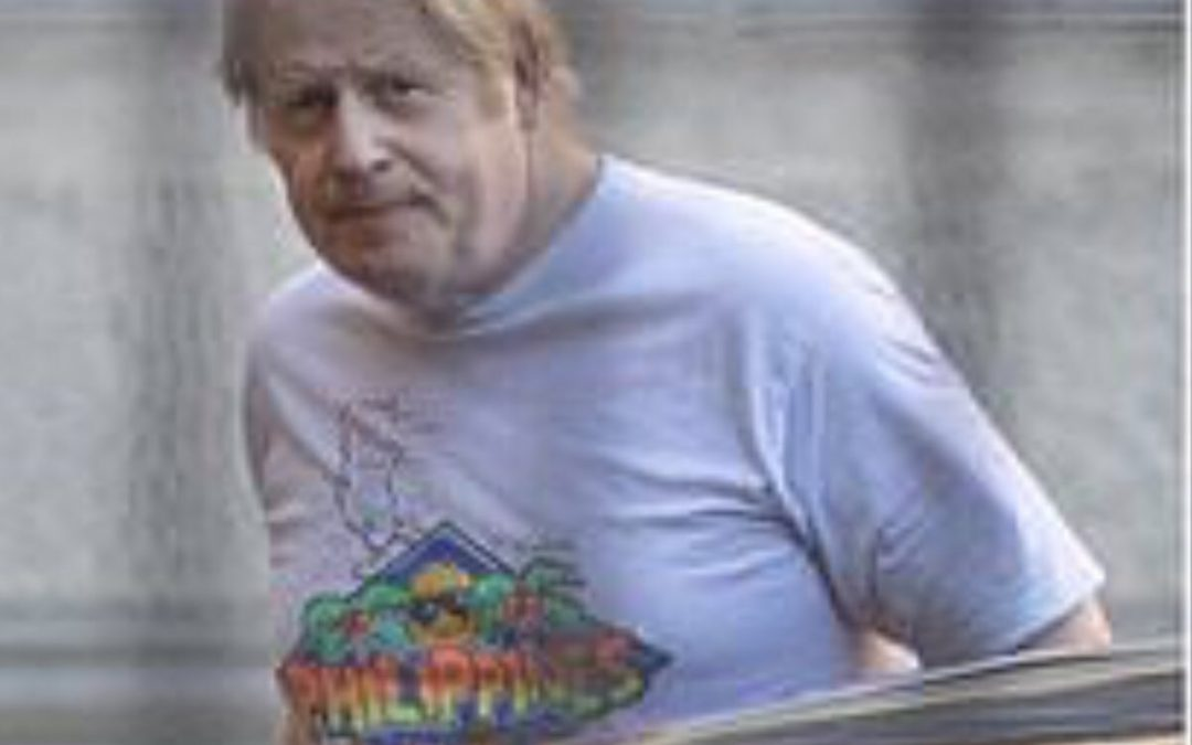 UK PM Boris Johnson believed to be wearing PH t-shirt to honor Filipino frontliners