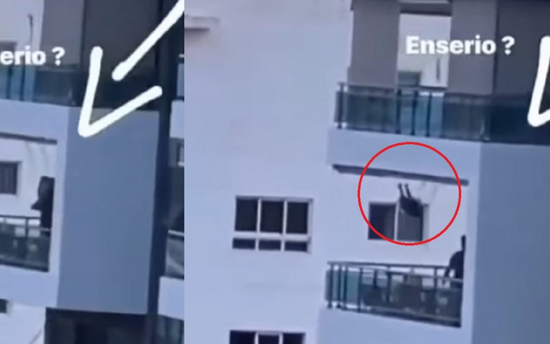 Netizens watch in horror as man plays with child on makeshift swing from eighth floor balcony