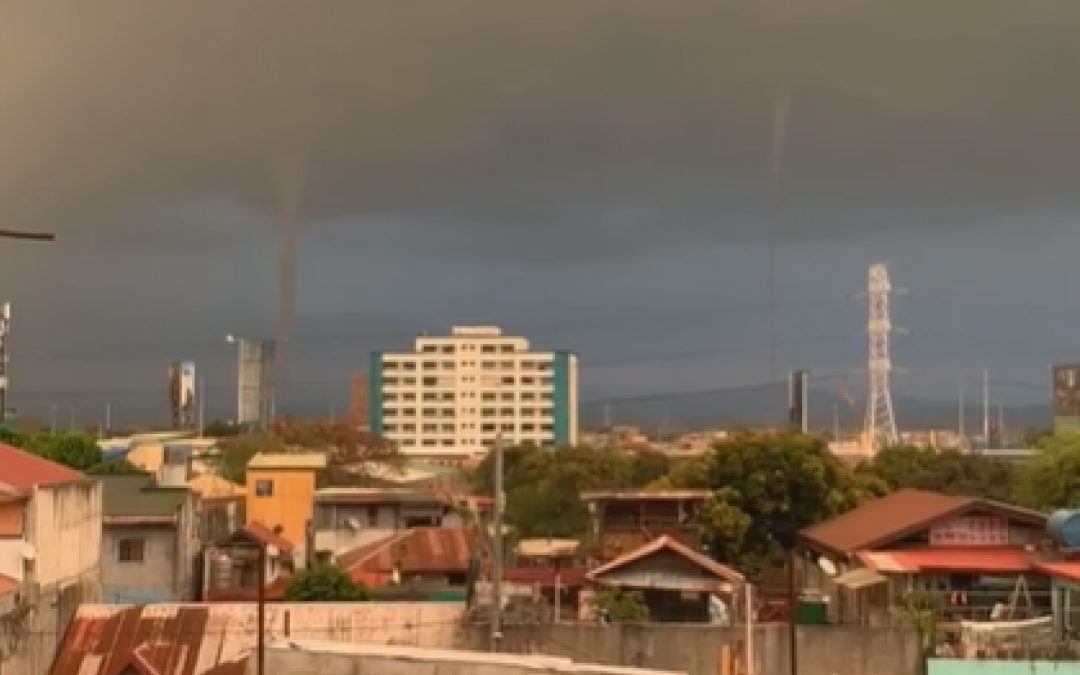 LOOK: Twin tornadoes sighted in Southern Luzon