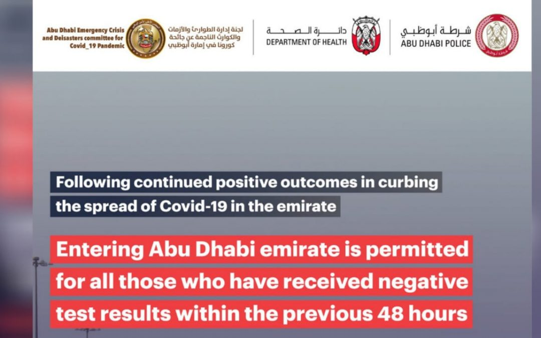 UAE residents required to present negative COVID-19 test result to enter Abu Dhabi